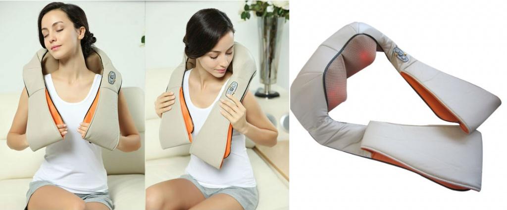 Электромассажер роликовый для спины, шеи, плеч с инфракрасным прогревом