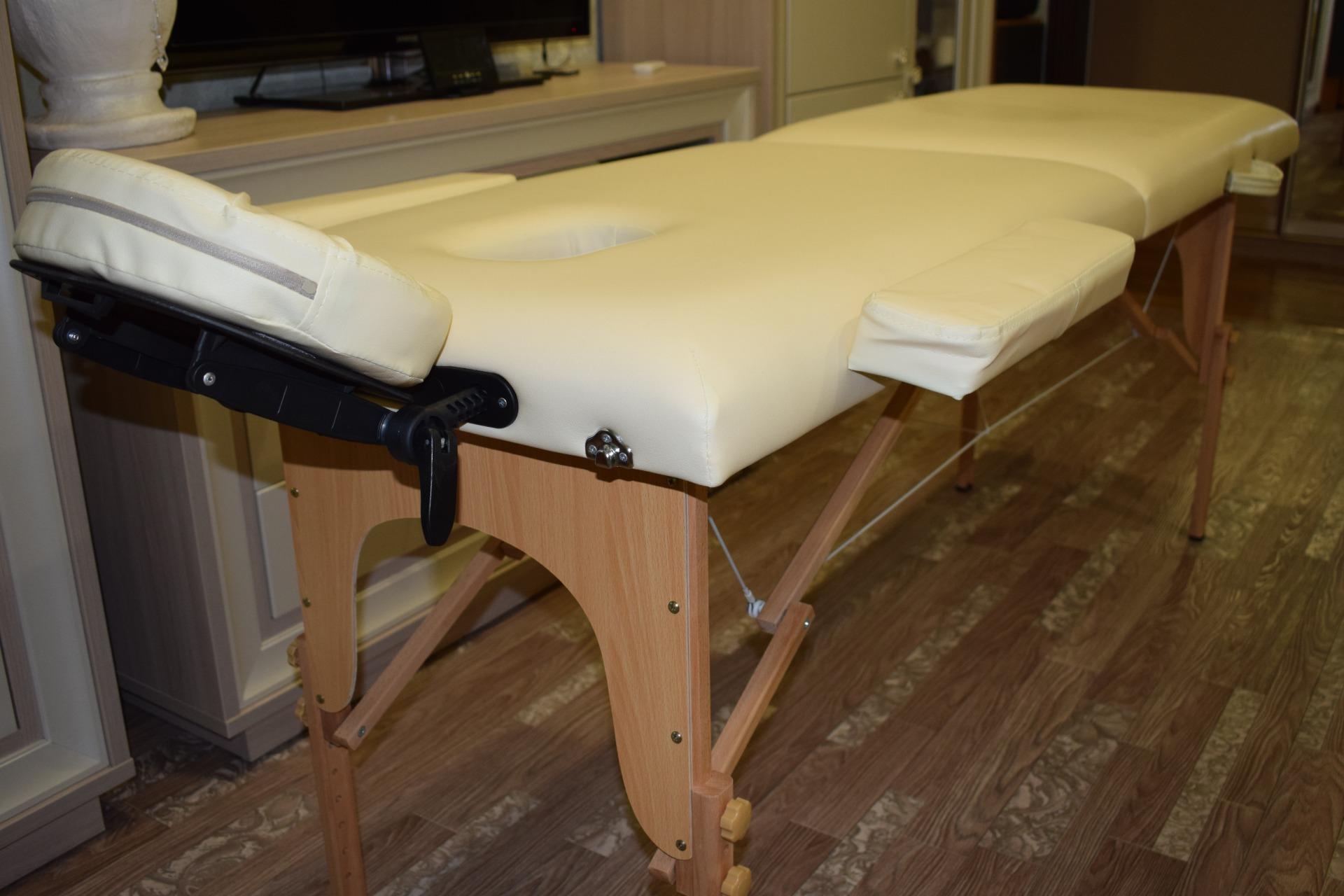 Стол массажный, складной, 2-х секционный (бежевый) / Модель ALL-119